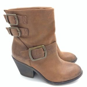LUCKY BRAND TOMMIE BOOTIES 7 1/2 BROWN LEATHER 7.5
